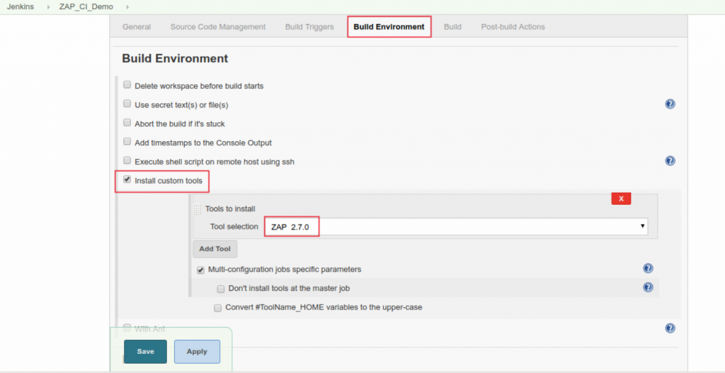 configuration page of your ZAP project